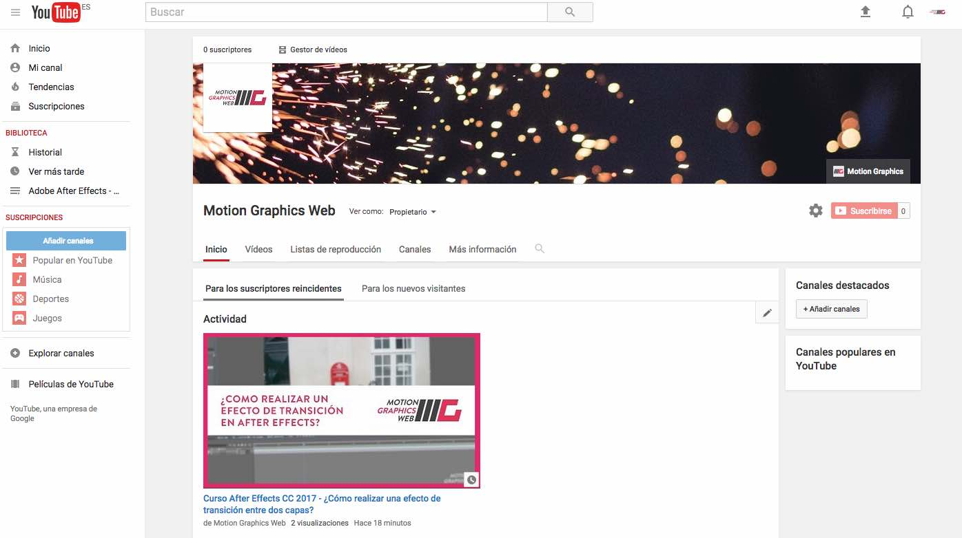 nuevo canal youtube motion graphics web